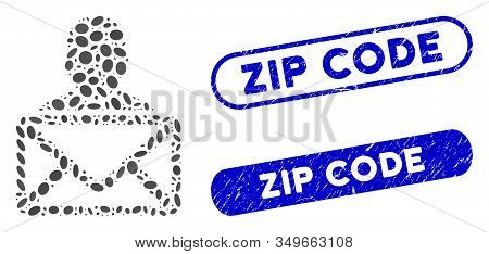Mosaic Mail Recipient And Grunge Stamp Seals With Zip Code Caption. Mosaic Vector Mail Recipient Is