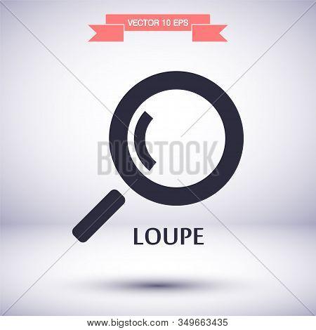 Magnifier With A Man Vector Icon , Lorem Ipsum Flat Design