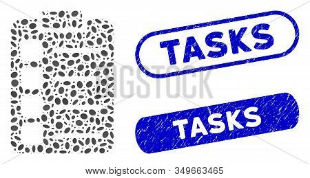 Mosaic Tasks And Rubber Stamp Seals With Tasks Caption. Mosaic Vector Tasks Is Created With Random E