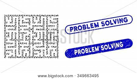 Mosaic Labyrinth And Grunge Stamp Seals With Problem Solving Caption. Mosaic Vector Labyrinth Is Com
