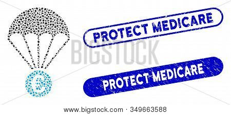 Mosaic Euro Parachute And Grunge Stamp Seals With Protect Medicare Caption. Mosaic Vector Euro Parac