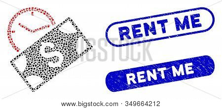 Mosaic Rent Recurring Payment And Grunge Stamp Watermarks With Rent Me Caption. Mosaic Vector Rent R