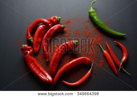 Fresh And Dried Chili Peppers , Turmeric ( Known As Curcumin, Curcuma Longa Linn) Powder Spices For