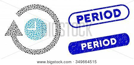 Mosaic Repeat Clock And Grunge Stamp Seals With Period Caption. Mosaic Vector Repeat Clock Is Compos