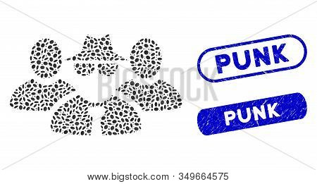 Mosaic Mafia People Group And Corroded Stamp Seals With Punk Caption. Mosaic Vector Mafia People Gro