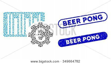 Mosaic Euro Barcode Setup And Grunge Stamp Seals With Beer Pong Caption. Mosaic Vector Euro Barcode