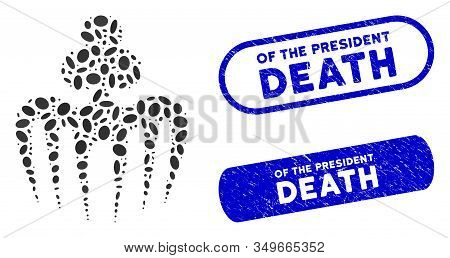 Mosaic Gambling Spectre Monster And Distressed Stamp Seals With Of The President Death Text. Mosaic