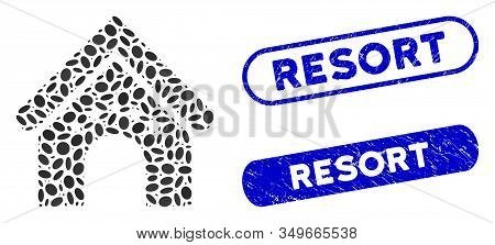 Mosaic Hotel Building And Corroded Stamp Watermarks With Resort Caption. Mosaic Vector Hotel Buildin