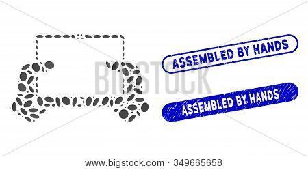 Mosaic Hands Hold Pda And Distressed Stamp Seals With Assembled By Hands Text. Mosaic Vector Hands H
