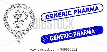 Collage Hospital Map Marker And Grunge Stamp Seals With Generic Pharma Phrase. Mosaic Vector Hospita