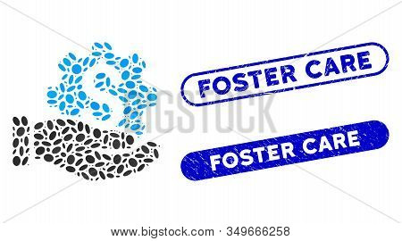 Mosaic Payment Service Hand And Rubber Stamp Seals With Foster Care Caption. Mosaic Vector Payment S