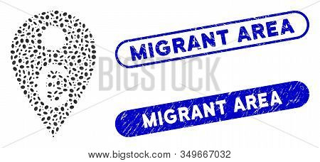 Mosaic Euro Map Marker And Distressed Stamp Seals With Migrant Area Phrase. Mosaic Vector Euro Map M