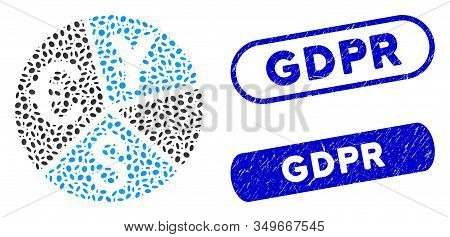 Mosaic Currency Pie Chart And Rubber Stamp Seals With Gdpr Text. Mosaic Vector Currency Pie Chart Is