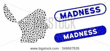 Mosaic Open Mind And Corroded Stamp Watermarks With Madness Caption. Mosaic Vector Open Mind Is Crea
