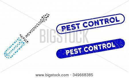 Mosaic Screwdriver And Distressed Stamp Seals With Pest Control Text. Mosaic Vector Screwdriver Is D