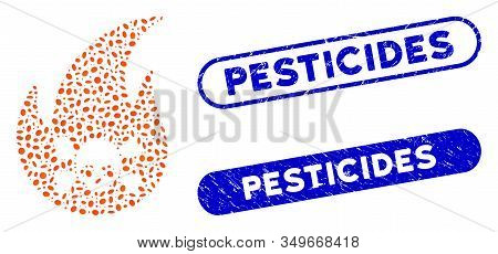 Mosaic Hellfire And Grunge Stamp Watermarks With Pesticides Caption. Mosaic Vector Hellfire Is Compo