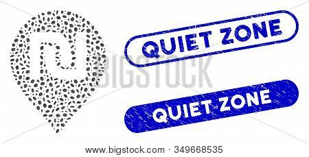 Mosaic Shekel Map Marker And Rubber Stamp Seals With Quiet Zone Text. Mosaic Vector Shekel Map Marke