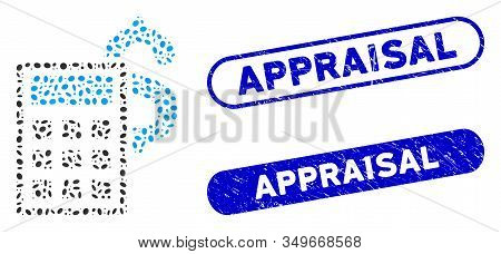 Mosaic Business Calculator And Grunge Stamp Seals With Appraisal Text. Mosaic Vector Business Calcul