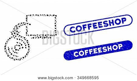 Mosaic Backup And Rubber Stamp Seals With Coffeeshop Text. Mosaic Vector Backup Is Formed With Rando