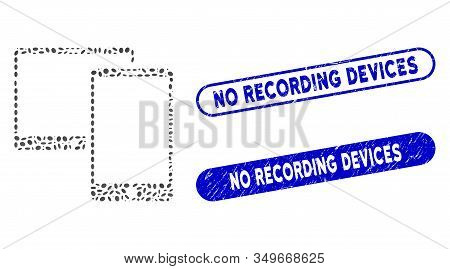Mosaic Mobile Devices And Rubber Stamp Seals With No Recording Devices Phrase. Mosaic Vector Mobile