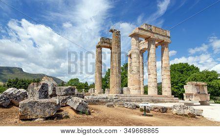 Ancient Temple Of Zeus In Nemea, Peloponnese, Greece.