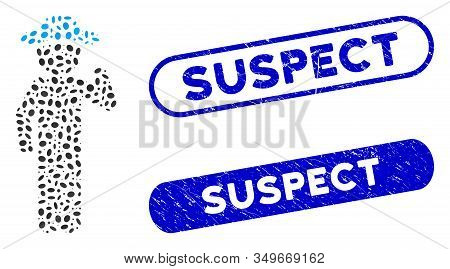 Mosaic Gentleman Opinion And Grunge Stamp Watermarks With Suspect Caption. Mosaic Vector Gentleman O