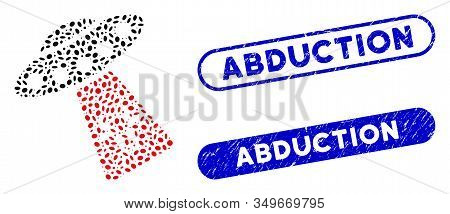 Mosaic Cow Abduction And Grunge Stamp Seals With Abduction Phrase. Mosaic Vector Cow Abduction Is De