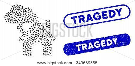 Mosaic Storm Building And Grunge Stamp Seals With Tragedy Text. Mosaic Vector Storm Building Is Crea