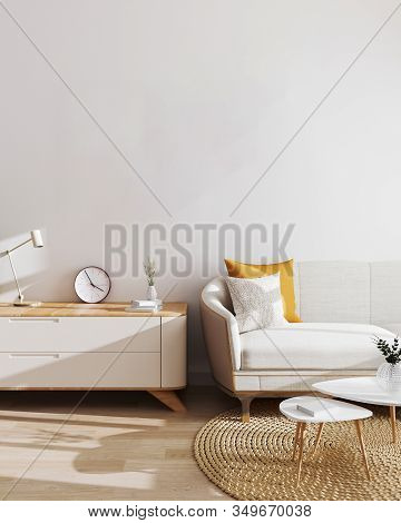 Modern Living Room Interior Background. Mockup, Living Room With White Wall And Modern Minimalistic