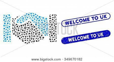 Mosaic Acquisition Handshake And Distressed Stamp Seals With Welcome To Uk Caption. Mosaic Vector Ac