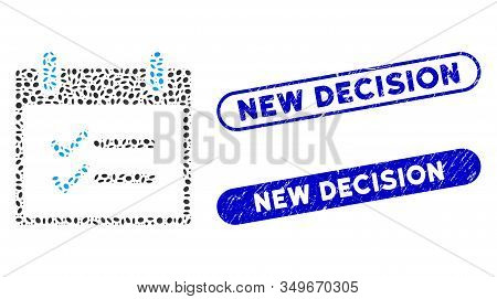 Mosaic Check Items Calendar Day And Rubber Stamp Seals With New Decision Phrase. Mosaic Vector Check