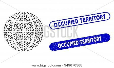 Mosaic Planet Globe And Distressed Stamp Seals With Occupied Territory Phrase. Mosaic Vector Planet