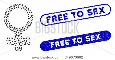 Mosaic Female Symbol And Distressed Stamp Seals With Free To Sex Caption. Mosaic Vector Female Symbo
