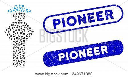 Mosaic Gentleman Akimbo And Rubber Stamp Seals With Pioneer Phrase. Mosaic Vector Gentleman Akimbo I