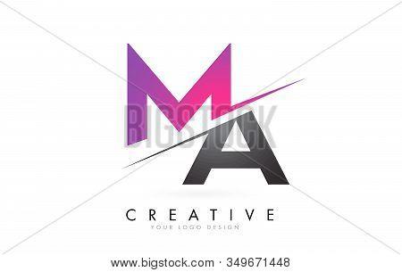 Ma M A Letter Logo With Color Block Design And Creative Cut. Creative Logo Design.