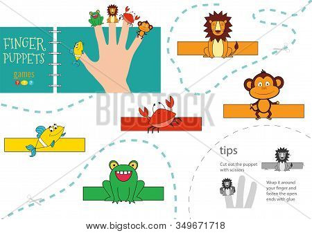 5 Finger Puppet Vector Animals. Cut And Glue Educational Worksheet For Preschool Or School Kids
