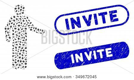 Mosaic Invitation Pose And Corroded Stamp Seals With Invite Caption. Mosaic Vector Invitation Pose I