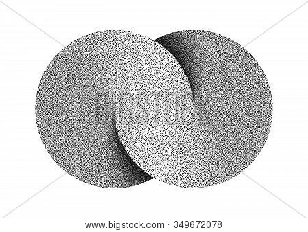 Stippled Infinity Sign Made Of Two Combined Disks. Textured Limitless Symbol. Vector Illustration Is