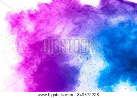Explosion Of Blue Pink Colored Powder Isolated On White Background.pink Blue Dust Splash.