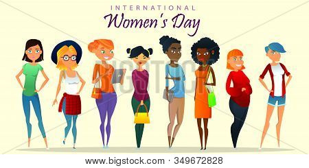 Happy International Womens Day. Different Beauty. Big Set Of Various Female Heads. Women Avatars. Va