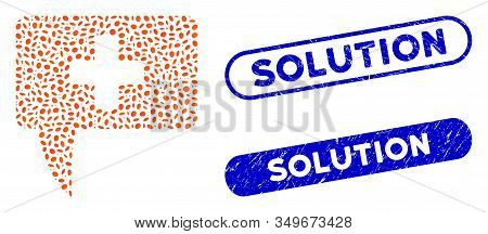 Mosaic Medical Answer And Distressed Stamp Seals With Solution Caption. Mosaic Vector Medical Answer