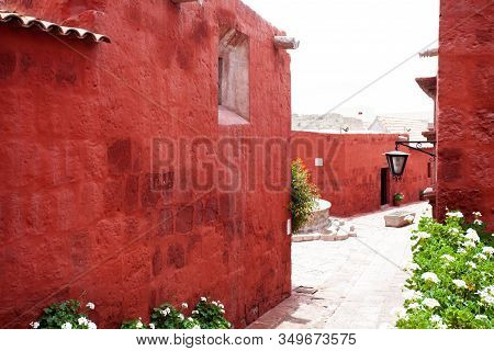 Street In The Monastery Of Santa Catalina, Arequipa, Peru, Old Terracotta Walls, Along The Walls Of