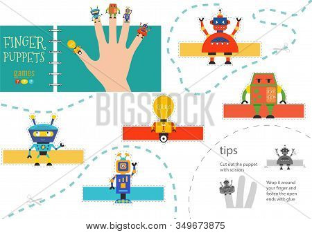 Vector Robotics As Finger Puppets. Cut And Glue Educational Activity For Preschool Kids