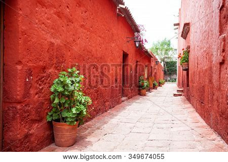 The Streets In The Monastery Of Santa Catalina, Arequipa, Peru, The Old Terracotta Walls, The Entran