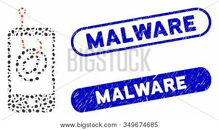 Mosaic Smartphone Email Phishing And Corroded Stamp Seals With Malware Caption. Mosaic Vector Smartp