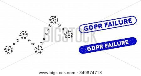 Collage Chart And Distressed Stamp Seals With Gdpr Failure Caption. Mosaic Vector Chart Is Created W
