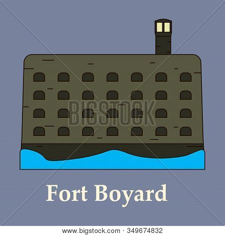 Medieval Mediterranean Fortress With Towers Icon. Ancient Historical Fort Isolated On Color Backgrou