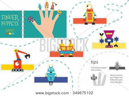 Vector Robotics As Finger Puppets. Cut And Glue Riddle For Preschool Kids