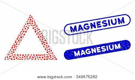 Mosaic Contour Triangle And Rubber Stamp Seals With Magnesium Caption. Mosaic Vector Contour Triangl