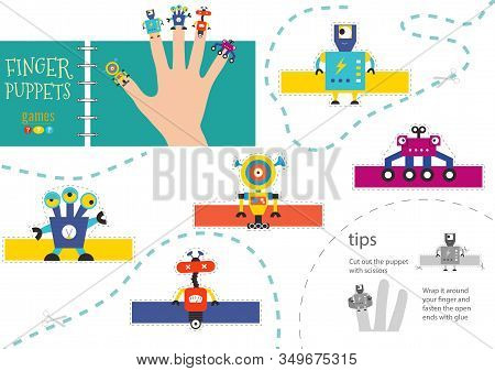 Finger Puppet Vector Robots. Cut And Glue Educational Illustration For Little Children